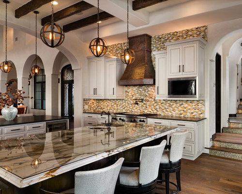 Mediterranean Kitchen With Mosaic Tile Backsplash Design