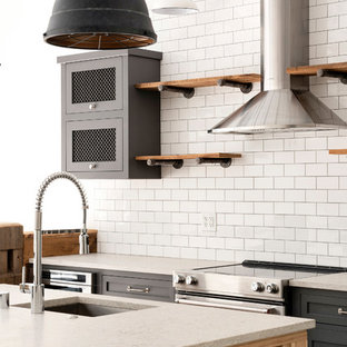 Industrial eat-in kitchen designs - Eat-in kitchen - industrial brown floor eat-in kitchen idea in Minneapolis with open cabinets, medium tone wood cabinets, white backsplash, stainless steel appliances, an island and yellow countertops