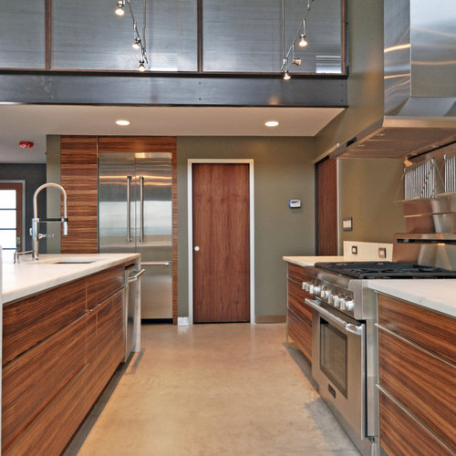 Mid-sized modern open concept kitchen remodeling - Mid-sized minimalist u-shaped