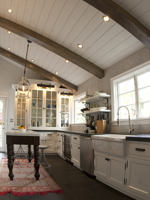Rustic Kitchen Inspiration   Example Of A Mountain Style Kitchen Design In  Los Angeles With Glass