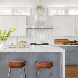 ボストンの中くらいのトランジショナルスタイルのおしゃれなキッチン (アンダーカウンターシンク、グレーのキャビネット、大理石カウンター、白いキッチンパネル、ガラスタイルのキッチンパネル、シルバーの調理設備、無垢フローリング、シェーカースタイル扉のキャビネット) の写真