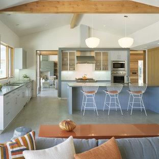 Ejemplo de cocina contemporánea, abierta, con electrodomésticos de acero inoxidable
