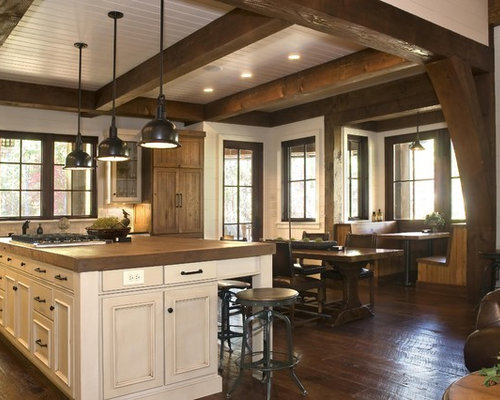 Rustic kitchen diner design ideas renovations photos for Lake house kitchen designs