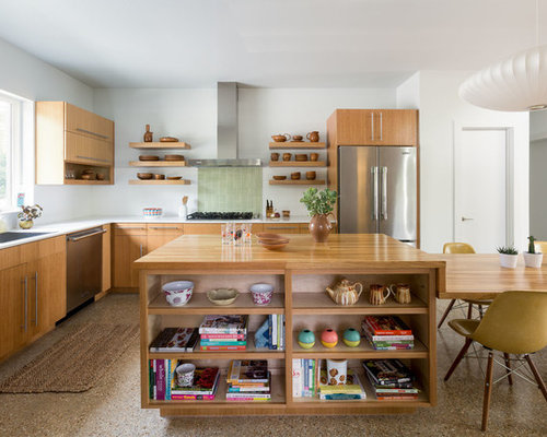 Midcentury Modern Eat In Kitchen Inspiration   1960s L Shaped Brown Floor  Eat