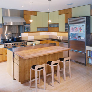 Example of a mid-sized minimalist u-shaped light wood floor eat-in kitchen design in San Francisco with flat-panel cabinets, green cabinets, wood countertops, multicolored backsplash, mosaic tile backsplash, stainless steel appliances and an undermount sink