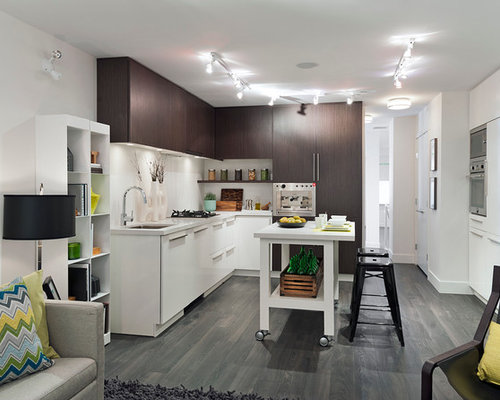 contemporary l shaped kitchen idea in vancouver with an undermount sink flat panel - Movable Kitchen Island Ideas