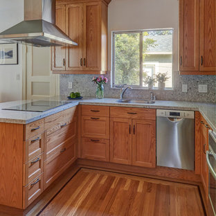 Small craftsman enclosed kitchen designs - Small arts and crafts u-shaped light wood floor and brown floor enclosed kitchen photo in San Francisco with an undermount sink, recessed-panel cabinets, medium tone wood cabinets, quartz countertops, gray backsplash, stone slab backsplash, stainless steel appliances, no island and gray countertops