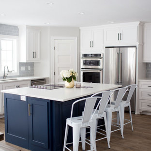 Large transitional eat-in kitchen appliance - Large transitional l-shaped vinyl floor and brown floor eat-in kitchen photo in Other with an undermount sink, white cabinets, quartz countertops, gray backsplash, porcelain backsplash, stainless steel appliances, an island, white countertops and shaker cabinets