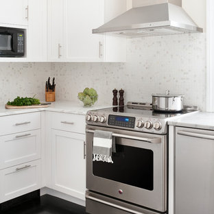 Example Of A Transitional Black Floor Kitchen Design In Boston With Recessed Panel Cabinets