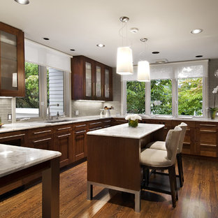 Mid-sized contemporary u-shaped separate kitchen in Detroit with glass-front cabinets, panelled appliances, an undermount sink, marble benchtops, grey splashback, glass tile splashback, with island, dark wood cabinets and dark hardwood floors.