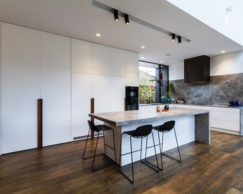 Large Modern L Shaped Open Plan Kitchen In Melbourne With An Undermount  Sink, Flat