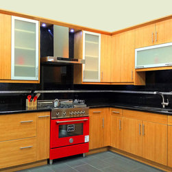 Bamboo Flat Panel Kitchen Cabinets - Model 4H Bamboo Flat Panel Kitchen Cabinets are frame less design and have full overlay doors, dovetail drawers with full extension under mount soft close ball bearing slides, six way adjustable concelled hinges. Optional soft close for doors.
