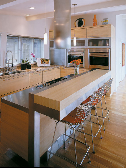 Trendy kitchen photo in Minneapolis with granite countertops, flat-panel  cabinets, light wood
