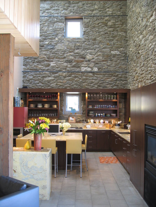 Contemporary L Shaped Kitchen Idea In Philadelphia With Open Cabinets And  Dark Wood Cabinets Part 45