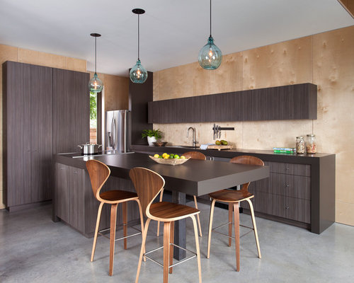 Mid Sized Contemporary Eat In Kitchen Designs   Mid Sized Trendy Galley  Concrete