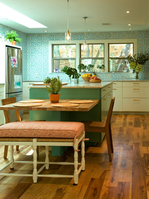 Kitchen Island With Dining Table Attached table attached to island | houzz