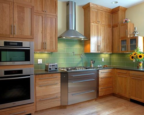 contemporary kitchen idea in boston with glass tile backsplash stainless steel appliances green backsplash - Birch Kitchen Cabinet
