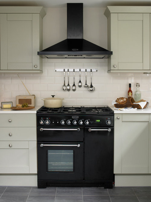 Inspiration for a victorian kitchen remodel in London with shaker cabinets   gray cabinets  subwayCast Iron Range Cooker   Houzz. Kitchen Design With Range Cooker. Home Design Ideas