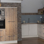 White Laquer And Dark Oak Kitchen