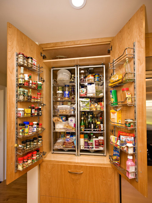 Example Of A Mid Sized Minimalist Kitchen Pantry Design In San Francisco  With Flat