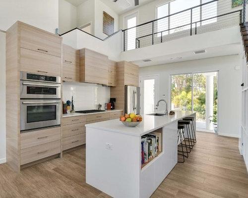 Contemporary Kitchen Ideas   Kitchen   Contemporary Galley Medium Tone Wood  Floor And Brown Floor Kitchen