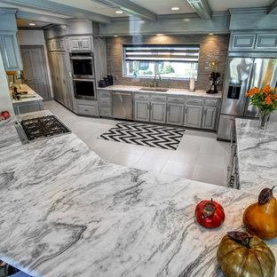 マイアミの大きいエクレクティックスタイルのおしゃれなキッチン (レイズドパネル扉のキャビネット、グレーのキャビネット、大理石カウンター、グレーのキッチンパネル、ボーダータイルのキッチンパネル、シルバーの調理設備の、アンダーカウンターシンク、磁器タイルの床) の写真