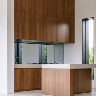This is an example of a mid-sized modern galley kitchen in Sydney with an undermount sink, medium wood cabinets, concrete benchtops, metallic splashback, mirror splashback, stainless steel appliances, marble floors, with island and beige floor.