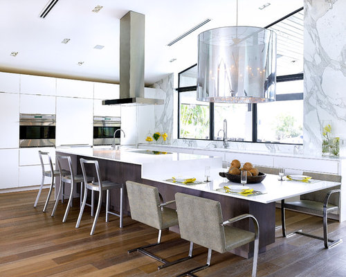 -in kitchen remodel in Miami with flat-panel cabinets, white cabinets ...