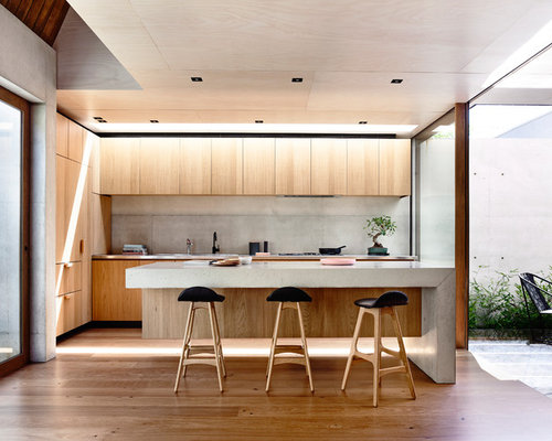 This Is An Example Of A Small Modern Galley Kitchen In Melbourne With  Concrete Benchtops, Part 65