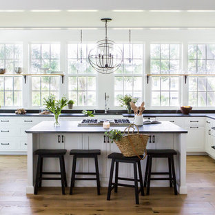 Beach style kitchen ideas - Inspiration for a beach style u-shaped medium tone wood floor and brown floor kitchen remodel in Tampa with a farmhouse sink, shaker cabinets, white cabinets, paneled appliances, an island and black countertops