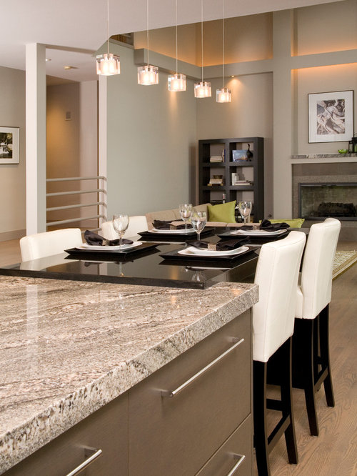mitered apron edge with granite kitchen pantry design