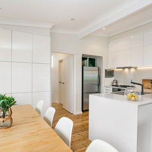 Coastal U Shaped Kitchen In Central Coast With A Double Bowl Sink Flat