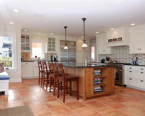 Tile Floor White Cabinets Houzz