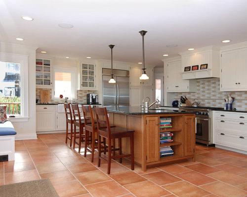Tile floor white cabinets home design ideas pictures for White kitchen cabinets tile floor
