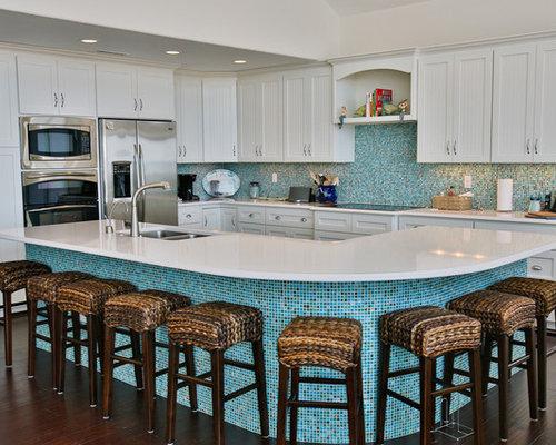 Huge Coastal L Shaped Dark Wood Floor And Brown Floor Eat In Kitchen Photo