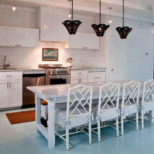 Diseño de cocina costera con electrodomésticos de acero inoxidable, suelo de madera pintada y suelo azul