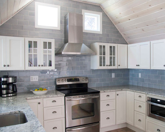 Blue Gray Subway Backsplash Houzz