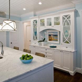 Klassische Küche mit Doppelwaschbecken, Glasfronten, weißen Schränken und Elektrogeräten mit Frontblende in Jacksonville