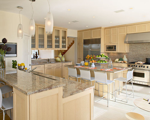 Beach Style Kitchen Idea In New York With Stainless Steel Appliances,  Recessed Panel Cabinets