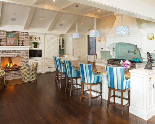 Beach Style Open Concept Kitchen Design Ideas Remodel Pictures Houzz