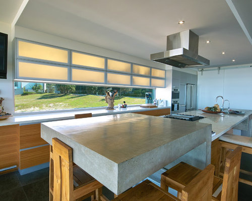 mid sized beach style eat in kitchen designs inspiration for a mid - Glass Sheet Kitchen Design