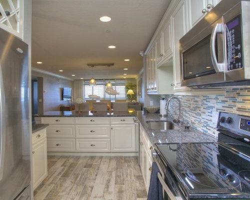1,454 Kitchen Design Photos with Blue Backsplash, White Cabinets and ...