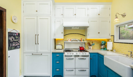 Yellow-and-Blue Kitchen Mixes Modern Amenities With Vintage Charm