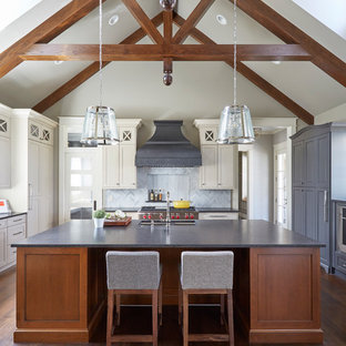Beamed Ceiling in Transitional Kitchen