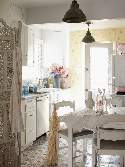 Ideas para cocinas | Fotos de cocinas románticas con suelo de ...