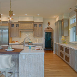 beach style kitchen photos kitchen beach style l shaped medium tone wood floor - Turquoise Kitchen Cabinets
