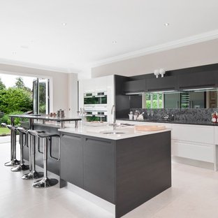 Contemporary kitchen in Berkshire with stainless steel appliances.