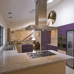 Mid-sized modern u-shaped open plan kitchen in Sydney with flat-panel cabinets, purple cabinets, granite benchtops, stainless steel appliances, ceramic floors, no island and beige floor.