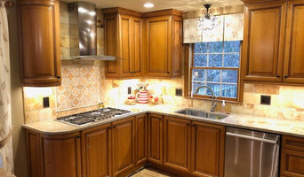 Beige Countertops with Rich Medium Wood Cabinets