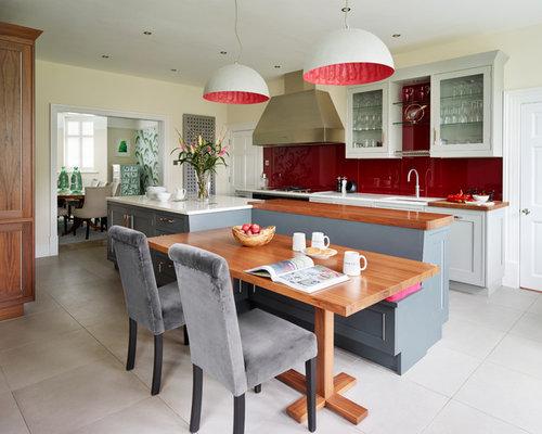 k che mit k chenr ckwand in rot und quarzit arbeitsplatte ideen bilder. Black Bedroom Furniture Sets. Home Design Ideas